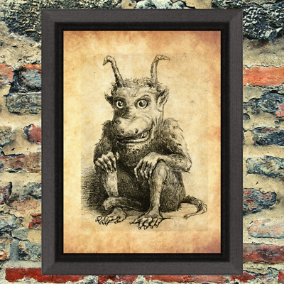 Curio Demon Oddity Occult Witch Art Print Antique Effect Paper No Frame Included