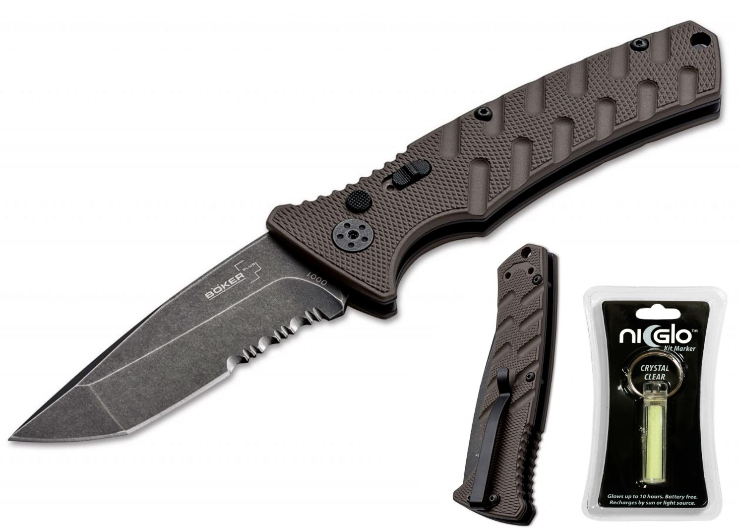 BÖKER Plus Strike Coyote Tanto Aluminiumgriff AUS-8 Stahl + + + NI-GLO S-Marker 3f3663
