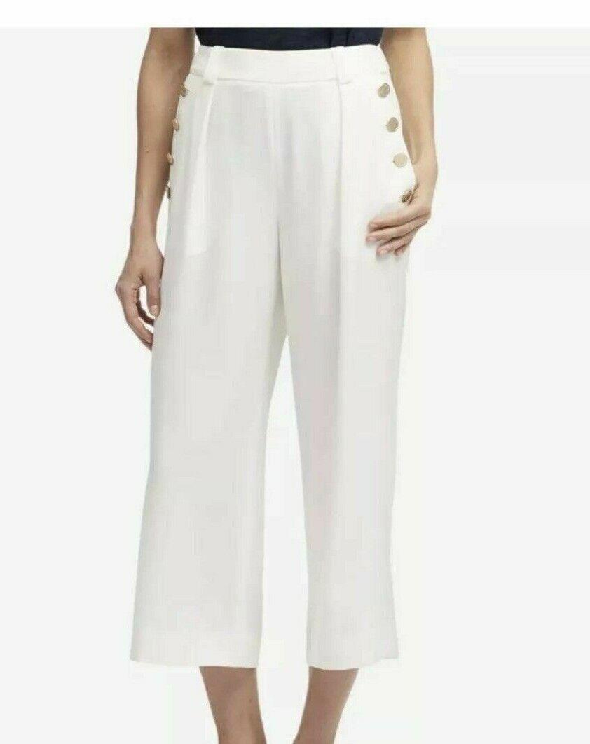 NEW - DKNY Women's HUDSON blueES WIDE LEG gold BUTTON DETAIL White PANTS - 8
