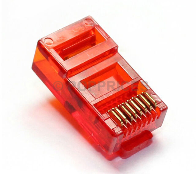 50Pcs RJ45 CAT5e CAT5 Colored Modular Plug Network Connector Red