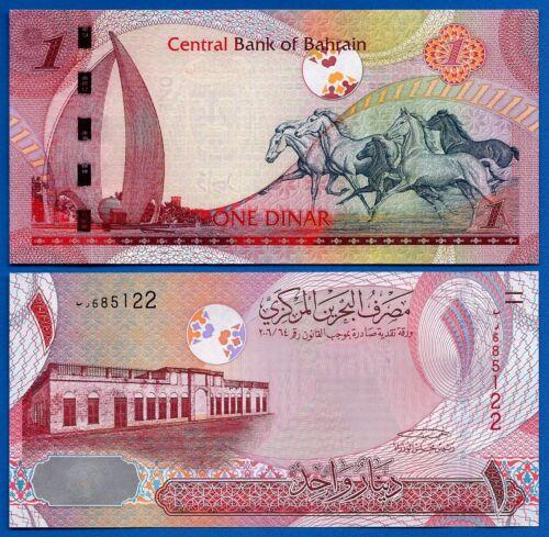 Bahrain P-26 1 Dinar Year 2008 Horses Unciruclated Banknote Asia