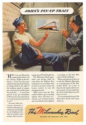 Milwaukee Road Hiawatha '40s Train Travel Navy Pinup Sailor Original Ad Vtg 1945