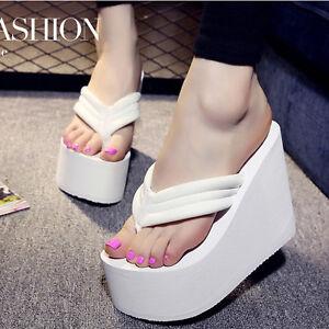 2a8399d1243 Slippers Thong Sandals Shoes Women Wedge Flip Flops Thick Platform ...