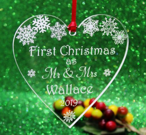 Personalised  First Christmas as Mr /& Mrs Christmas Heart Tree Decoration