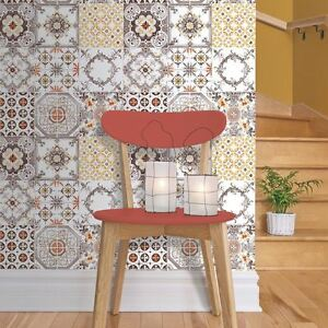 New muriva tile pattern retro floral kitchen bathroom vinyl wallpaper j95605 3294270956052 ebay - Washable wallpaper ...