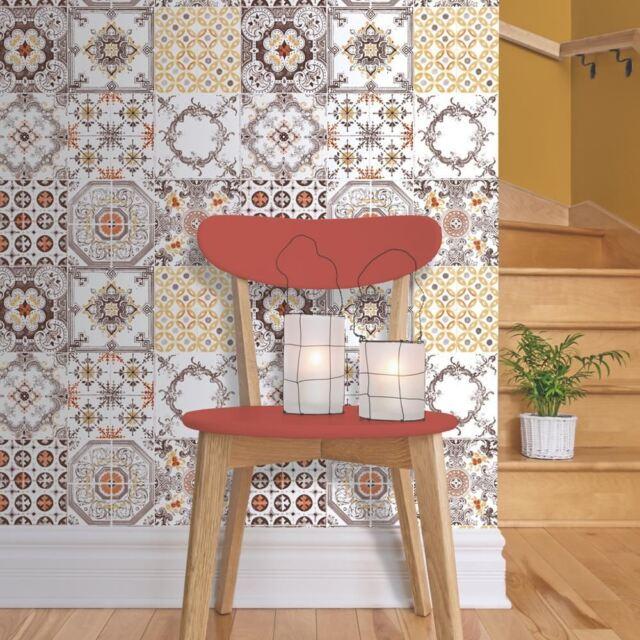 Ordinaire NEW MURIVA TILE PATTERN RETRO FLORAL KITCHEN BATHROOM VINYL WALLPAPER J95605
