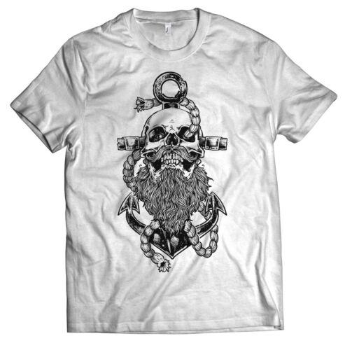Sailor Beard T-shirt Ancre Capitaine Skull Barbe Capitaine hisse Hommes S-XXXXXL