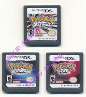 3PCS Nintendo Pokemon Platinum+Pearl+Diamond Version Game Card for 3DS DSI