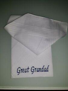 3 GRANDAD GRANDPA POPS MENS PERSONALISED HANDKERCHIEF ANY NAME BOXED HANKIE BOX