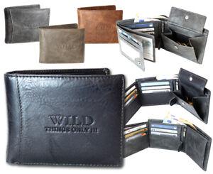 Herren-Brieftasche-Geldbeutel-Geldboerse-Portemonnaie-Wallet-Kunst-Leder