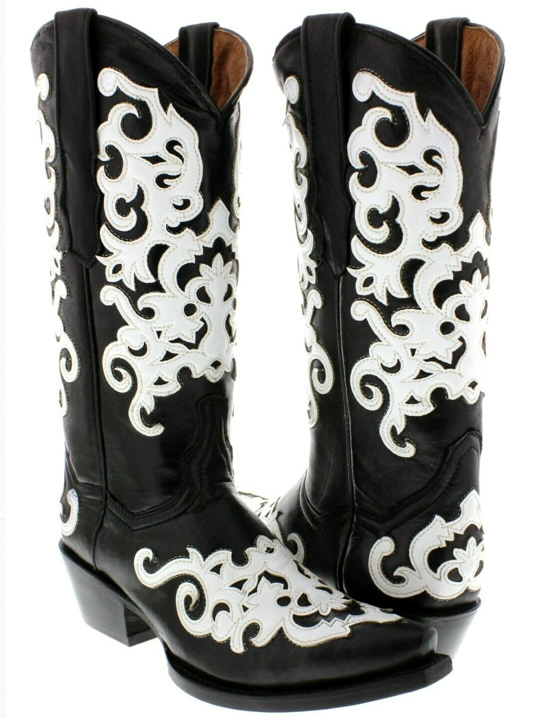 Womens Black Real Leather Western Cowgirl Boots White Overlay Snip