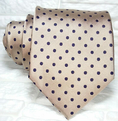 Cravatta Pois Uomo Marrone E Nero 100% Seta Made In Italy Handmade Jacquard