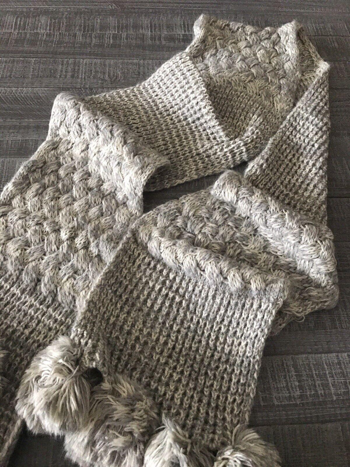 Women Claire Grey Knit Scarf Long Pom Pom Shawl  - image 1