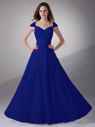 Cap Sleeve Long Chiffon Beads Wedding Party Gown Ball Dress Bridesmaid Dresses