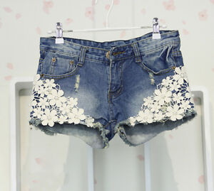 women-crochet-lace-pearl-denim-hot-pants-shorts-size-S-XXL-for-ur-holidays-AA002