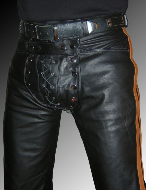 gay Leather trousers new black brown stripes mens gay leather pants Leder Cuir