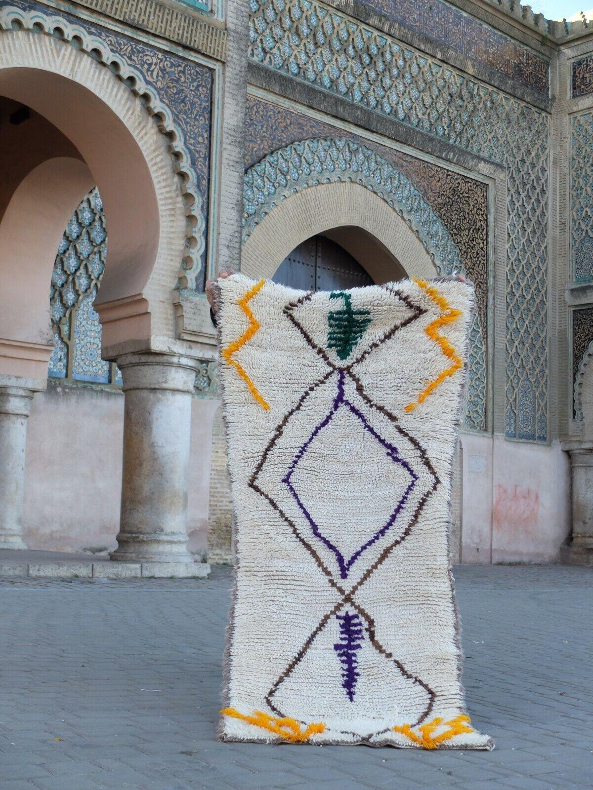 Vintage Moroccan rug Hand Woven Rug AZILAL  Berber Carpets 5'3'' 2'2''