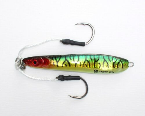 OTI Jager Jig, Speedpilker 200gr. Green Mackerel mit Assist Hooks, Jigging, Pilk