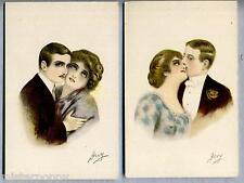 Lotto 2 cartoline Amanti Donnine Liberty Glamour Lovers PC Circa 1910