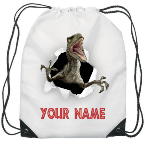 Personalised Dinosaur Velociraptor Gym Bag Boys PE Sports School Swim Bag