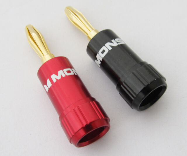 2pcs Monster Gold Plated Speaker Cable Wire 4mm Banana Plug Audio ...