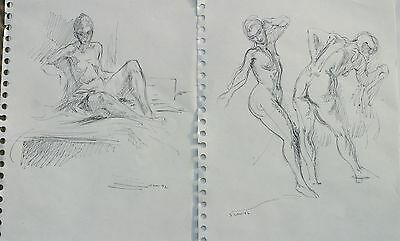 Two drawings of same female model by Miriam Slater 1992