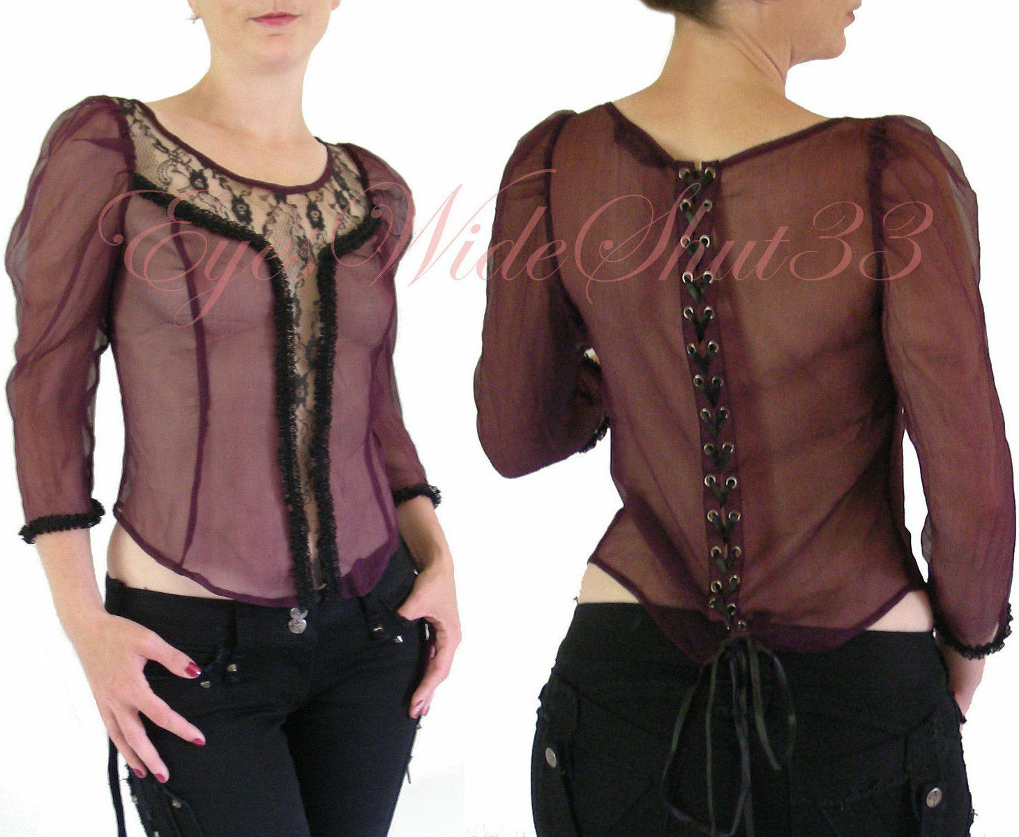 Sheer Silk Sexy Blouse Top Lace up back Shirt Medieval Tunic Corset Lip Service