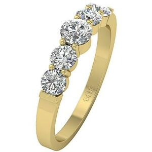 Five-Stone-Annivarsary-Ring-Round-Cut-Diamond-SI1-G-1-25-Ct-14K-Yellow-Gold