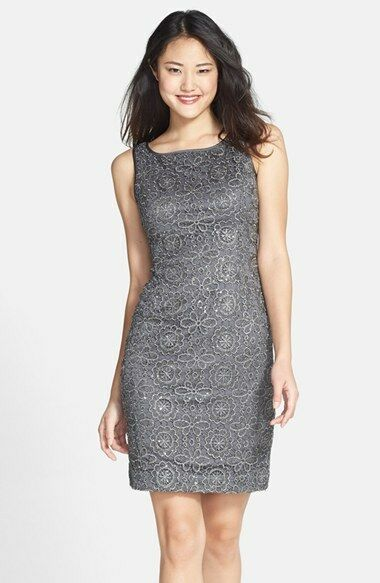 NWT  Adrianna Papell Sequin Lace Dress in Charcoal Grey [SZ 16 ]  AP128