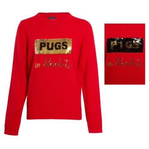 Womens Sequin GIN PUGS PIGS Christmas Glitter Jumper Knitwear Sweater Top