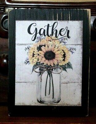 Sunflowers Mason Jar Primitive Rustic Wooden Sign Block Shelf Sitter 3.5X4.5
