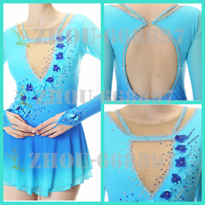 Girls Women blueee flowers Ice Skating Dress Competition Ice Figure Skating Dress