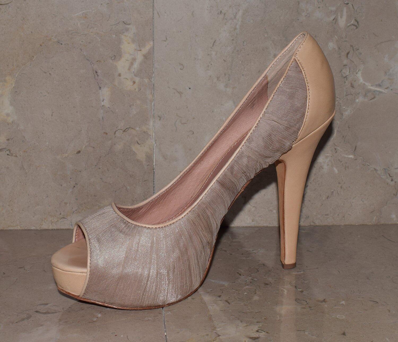Vince Camuto Beige Ruched Peep Größe Toe Platform High Heels Stiletto Größe Peep 8.5 dc1142