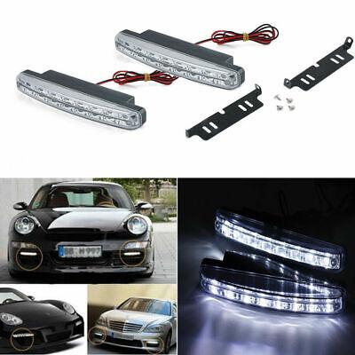 White 2pcs 12V 8 LED Daytime Running Light DRL Car Fog Day Driving Lamp
