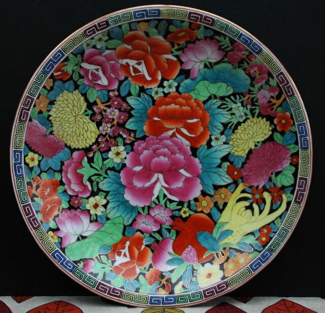 Chinesischer Wandteller mit reichhaltiger Blütenpracht ! Gemarkt - Handbemalt !