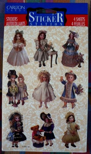 VINTAGE CARLTON CARDS VICTORIAN ERA DOLLS STICKERS 4 SHEETS 36 STICKERS NIP