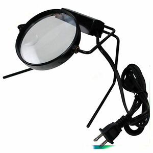 Illuminated Magnifier On Stand Lamp Desk Magnifying Glass