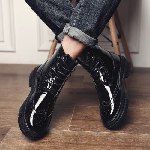 Mens Wing Tip Carved Lace Up Casual Formal Dress Comfort Ankle Boot Brogue Shoes