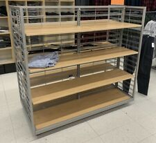 Used Clothing Store Fixtures Metal With Adjustable Wood Shelves Rolling