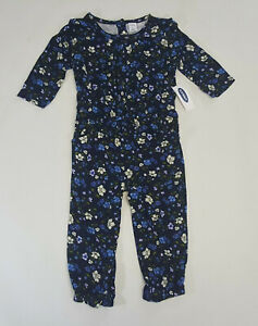 NWT-Old-Navy-Girls-Size-12-18-24-Months-2t-3t-4t-5t-Blue-Flower-Soft-Pant-Romper