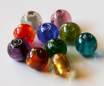 10 x 8mm Foil Mixed Glass Round Loose Beads