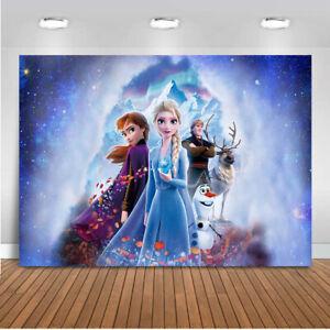 Frozen Ice Queen Princess Elsa Backdrop Kids Birthday Party Photo Background
