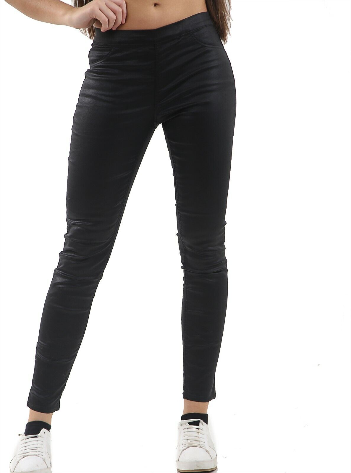 Evvor Womens Jean Zip Up Leather Look Skinny Fit Jeggings