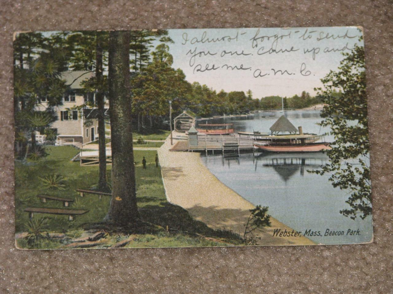 Beacon Park, Webster, Mass., 1906, used vintage card