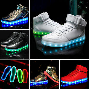 2017 High Top Sports Shoes 7 Led Light Lace Up sneaker Luminous Casual Shoes V6