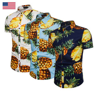 USA-Mens-Pineapple-Print-Shirts-Tops-Casual-Short-Sleeve-Hawaiian-Beach-Shirt