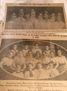 NURSES 1902 ST LUKES HOSP ST PAUL MN & 1901 NAMED NEWSPAPER PICTURES-ORIG CLIPS