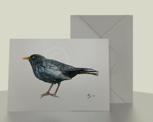 Male-Blackbird-7x5-Greetings-Card-from-garden-bird-watercolour-pencil-drawing