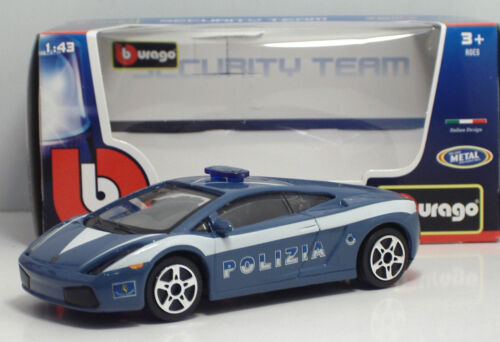 "METAL Scala 1:43 Bburago 30310 Lamborghini GALLARDO /""POLIZIA/"""