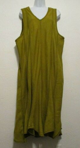 CYNTHIA ASHBY XL Green Linen Sleeveless Isabel Dre